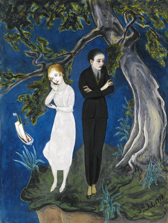 Yngling i svart, flicka i vitt (jeune homme en noir, jeune fille en blanc), 1919, aquarelle