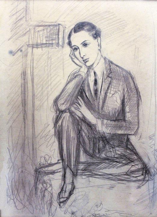 Sittande man (étude pour Philippe), 1924, crayon